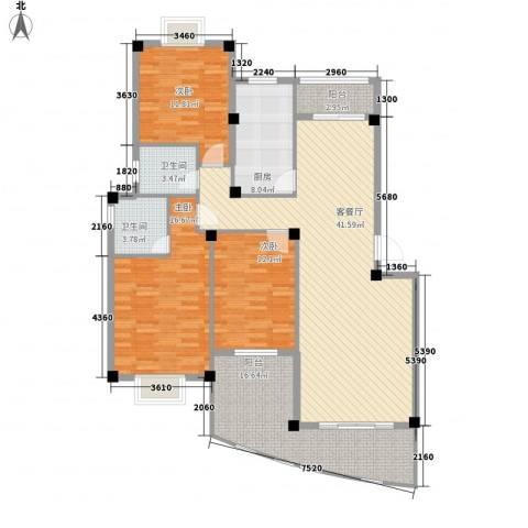 东湖花园四区3室1厅2卫1厨117.05㎡户型图