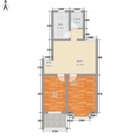 西城国际2室1厅1卫1厨82.00㎡户型图
