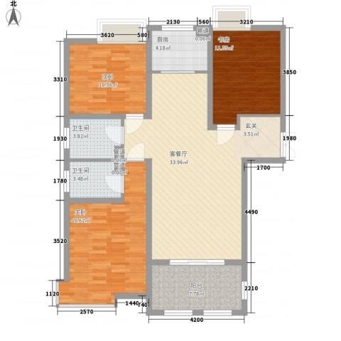 金湖国际3室1厅2卫1厨131.00㎡户型图