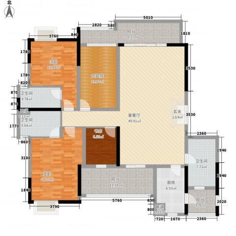 星星华园国际3室1厅3卫1厨202.00㎡户型图