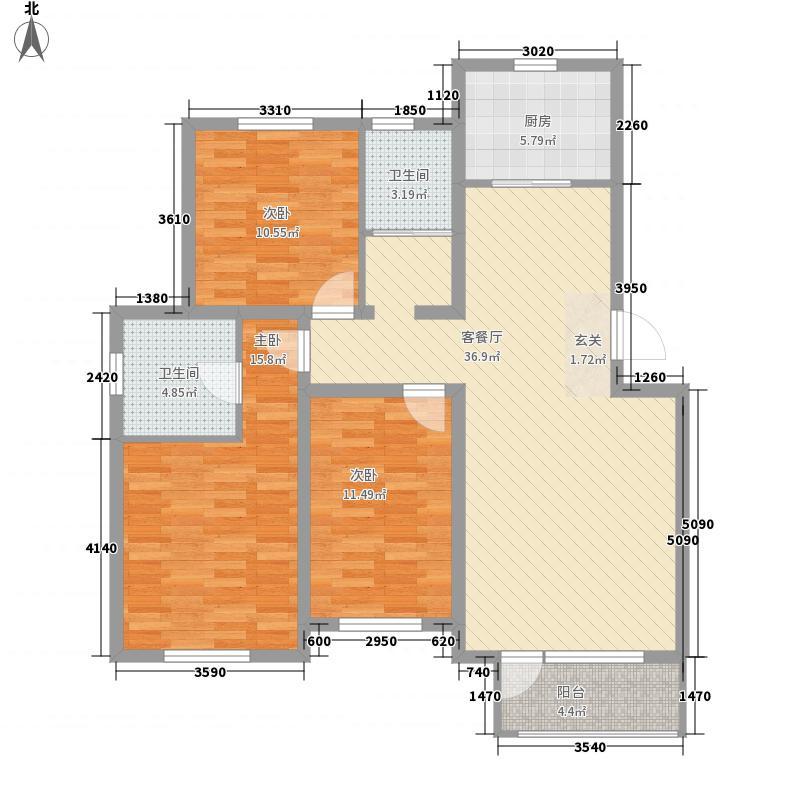 塞纳波斐132.00㎡17-27#C户型3室2厅2卫1厨