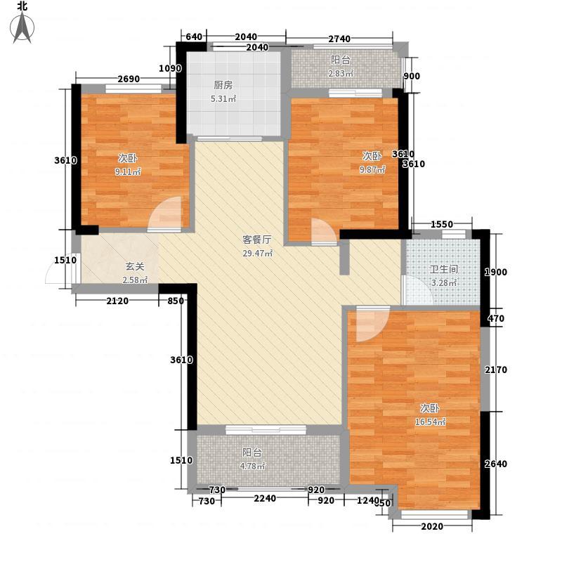 统建天成美景11.00㎡2、3、4、7号楼J2户型3室2厅1卫1厨