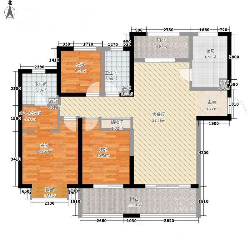 保利拉菲公馆朗菲园148.00㎡E1户型3室2厅2卫1厨