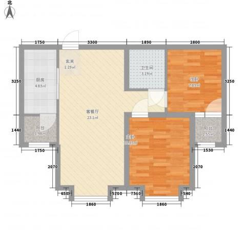 太阳城2室1厅1卫1厨77.00㎡户型图