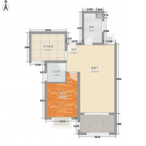 水榭花城1室1厅1卫1厨86.00㎡户型图