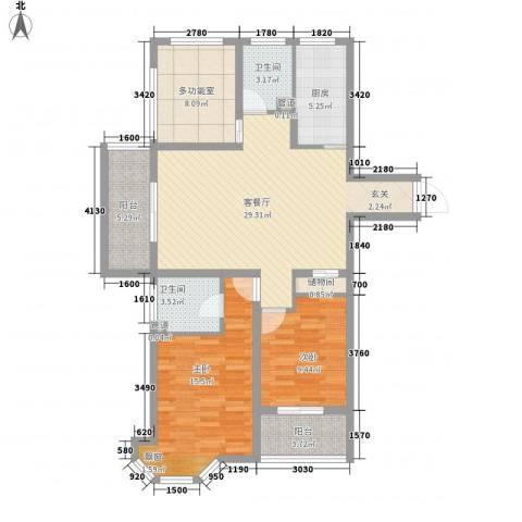 水榭花城2室1厅2卫1厨122.00㎡户型图