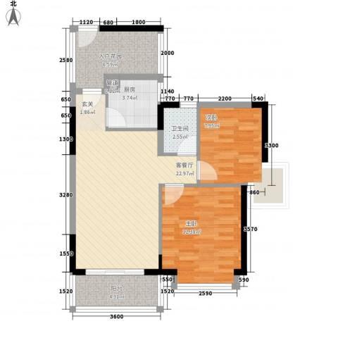 乐景楼2室1厅1卫1厨87.00㎡户型图