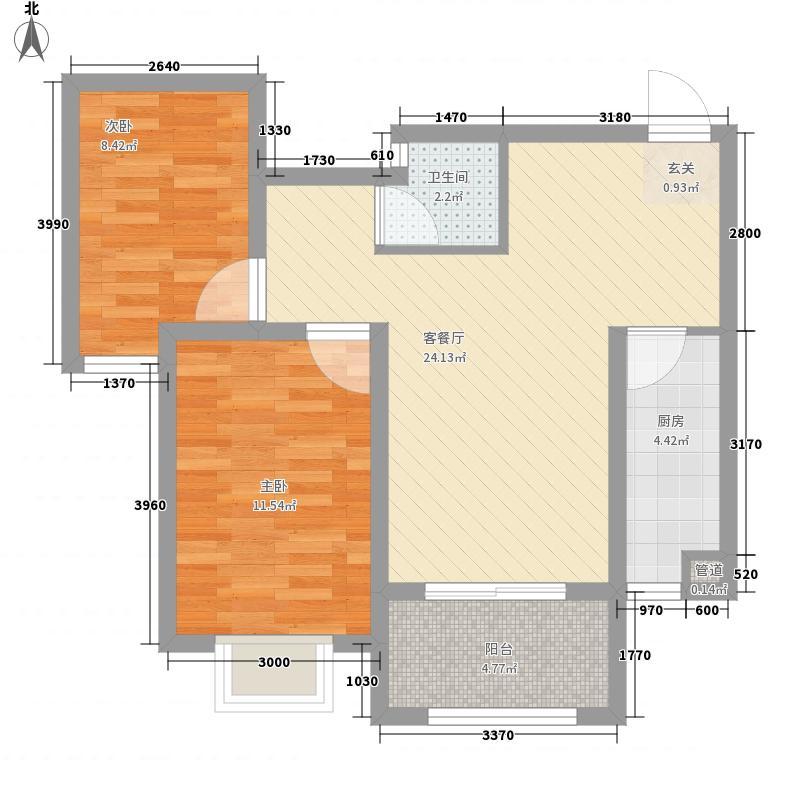 裕昌九州国际84.86㎡B2户型2室2厅1卫1厨