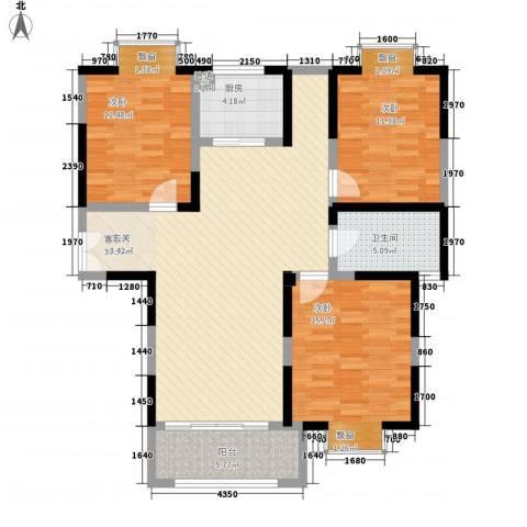 我家山水瑞雪苑3室1厅1卫1厨134.00㎡户型图