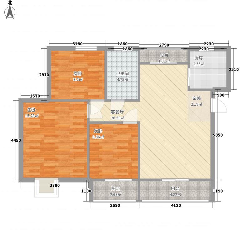 紫轩时代广场15.20㎡2、3号楼A4户型3室2厅1卫1厨