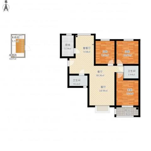 万象春天3室1厅2卫1厨136.00㎡户型图