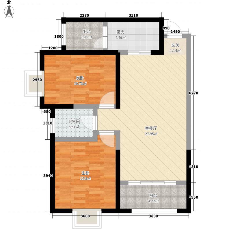 兰铁福苑小区F户型:两房两厅一卫,98.73平米_调整大小户型2室