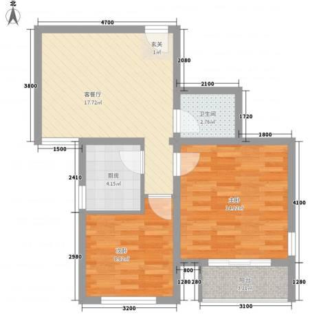 万邦迎泽苑2室1厅1卫1厨75.00㎡户型图