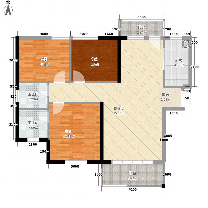 丽景湾一期三居户型3室2厅2卫1厨