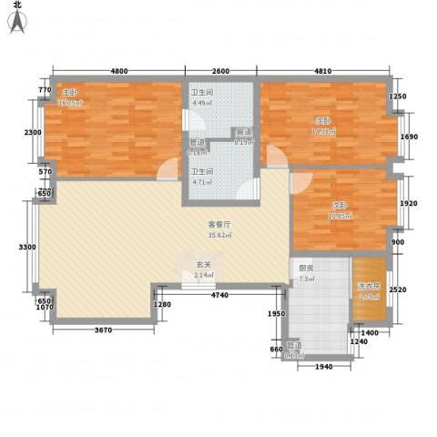 竹溪园3室1厅2卫1厨137.00㎡户型图