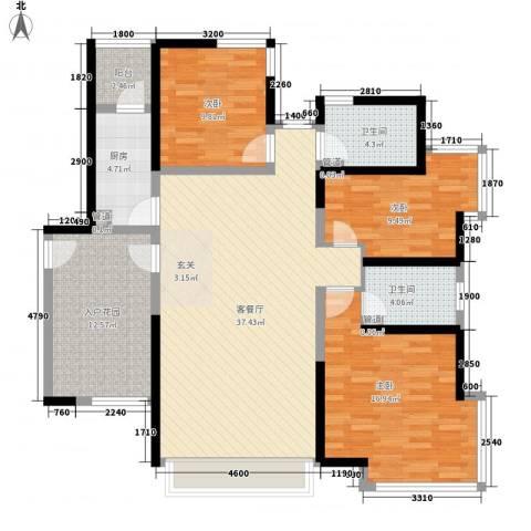 曲江城市花园3室1厅2卫1厨129.00㎡户型图