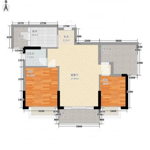 江南御都2室1厅1卫1厨86.00㎡户型图