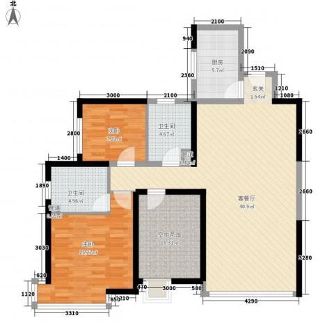 曲江城市花园2室1厅2卫1厨117.00㎡户型图