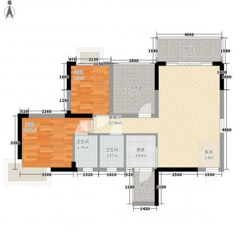 江南御都2室1厅2卫1厨80.32㎡户型图