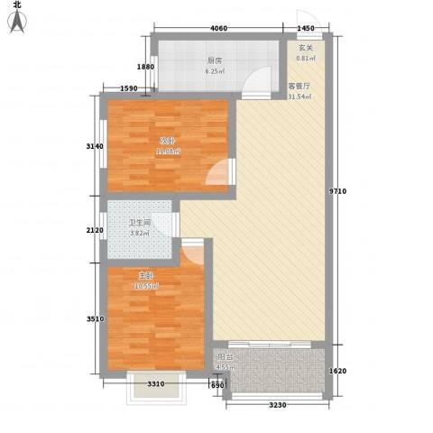 阅澜水岸2室1厅1卫1厨67.79㎡户型图