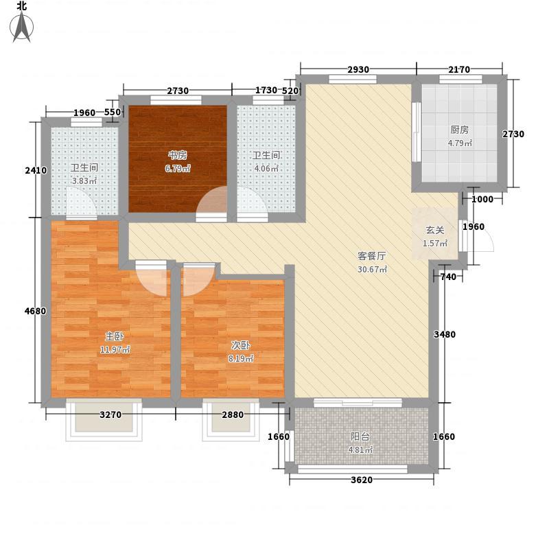 海信・贤文世家128.00㎡12#e2-2户型3室2厅2卫1厨