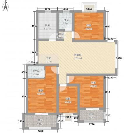佳蓉・翰林苑4室1厅2卫1厨128.00㎡户型图