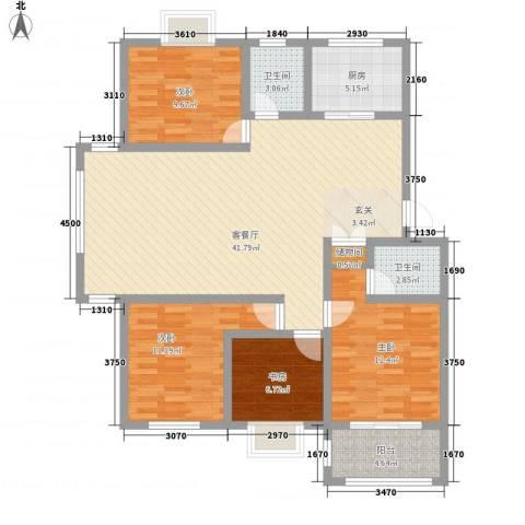 佳蓉・翰林苑4室1厅2卫1厨142.00㎡户型图