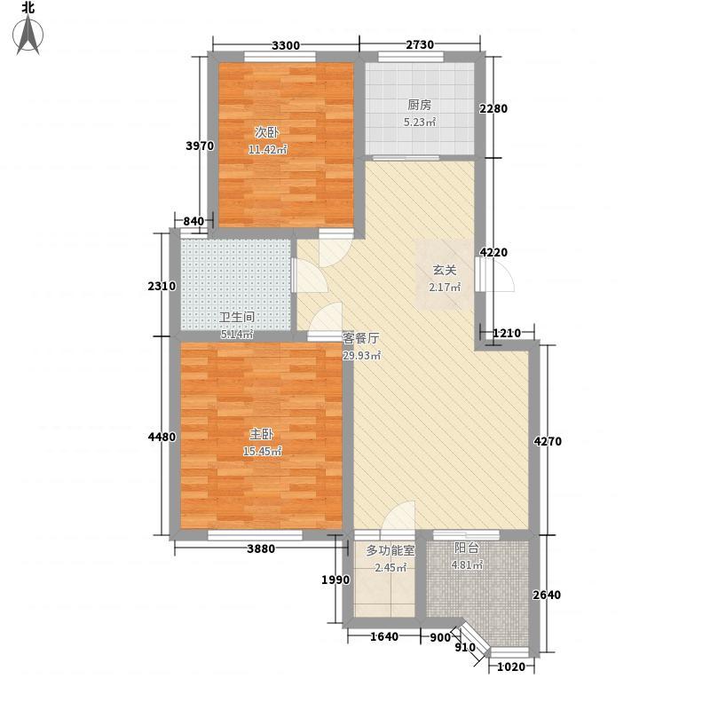 达美水岸11.00㎡一期b2户型2室2厅1卫