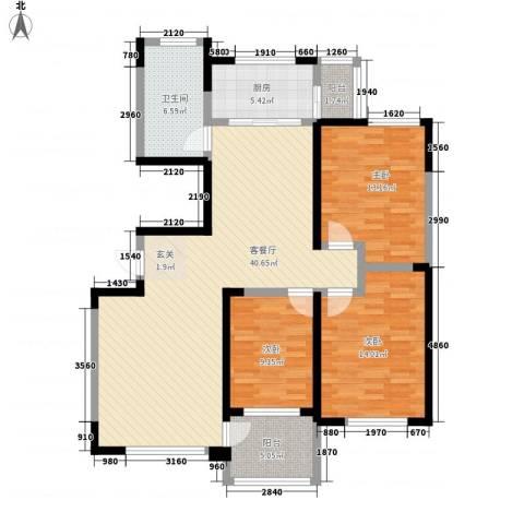 鲁中颐丰花园3室1厅1卫1厨110.00㎡户型图