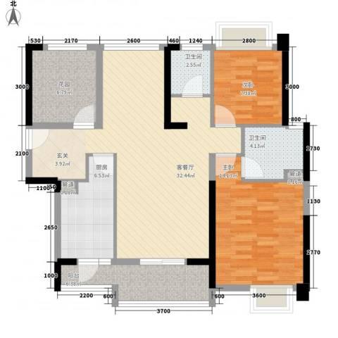 汇景御海蓝岸2室1厅2卫1厨116.00㎡户型图