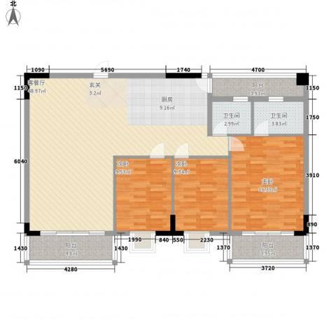 华宇大厦3室1厅2卫0厨146.00㎡户型图