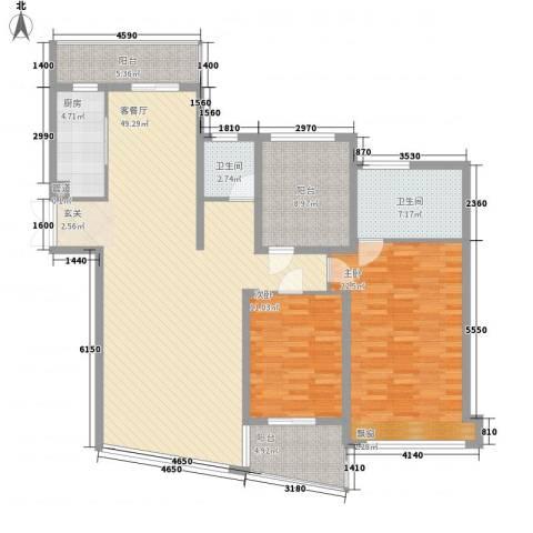 新景舜弘天籁2室1厅2卫1厨164.00㎡户型图