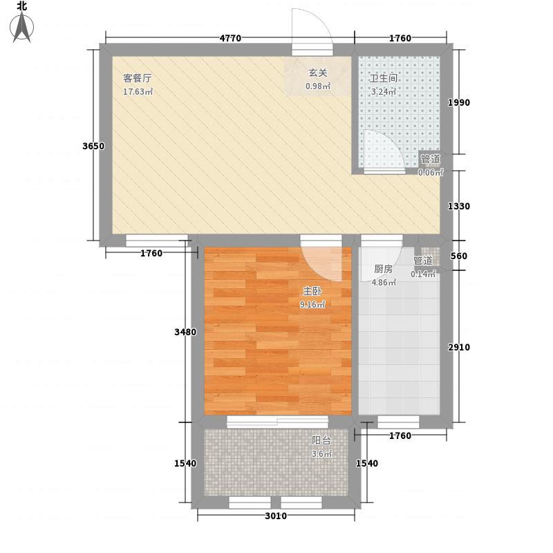 盛秦北苑B2户型1室2厅1卫