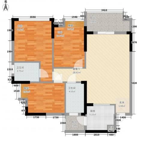 奥林匹克花园红城3室1厅2卫1厨85.00㎡户型图