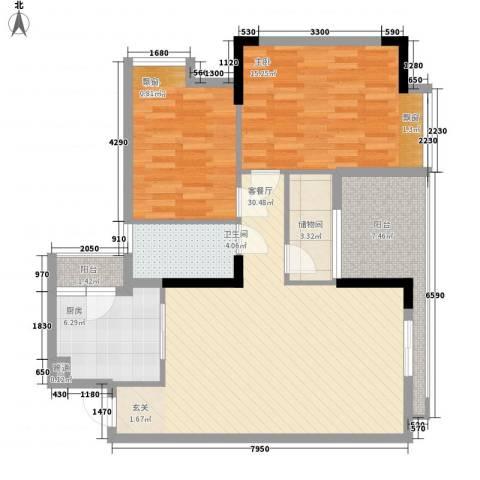 奥林匹克花园红城2室1厅1卫1厨114.00㎡户型图