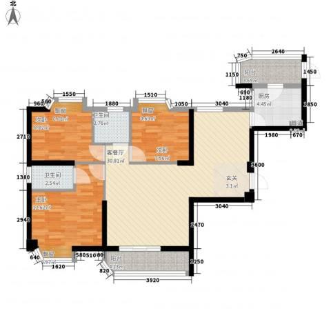 新景舜弘天籁3室1厅2卫1厨112.00㎡户型图