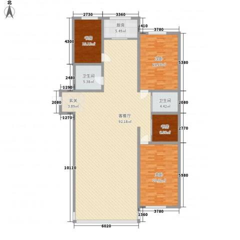 中凯华庭4室1厅2卫1厨221.00㎡户型图