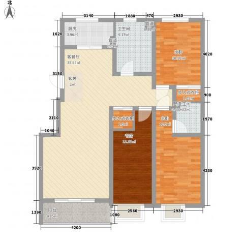 星海花园3室1厅2卫1厨130.00㎡户型图