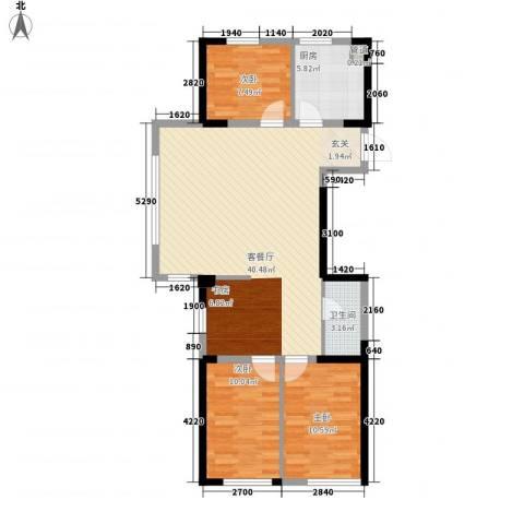 中央学府3室1厅1卫1厨109.00㎡户型图