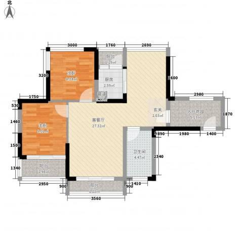 美泰天韵2室1厅1卫1厨94.00㎡户型图