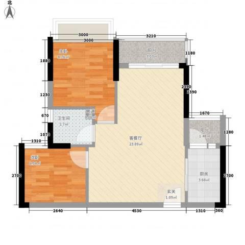 日升昌阳光御园2室1厅1卫1厨72.00㎡户型图