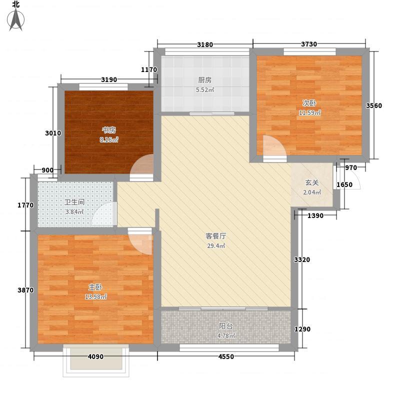 春秋华庭11.00㎡G-7户型3室2厅1卫1厨