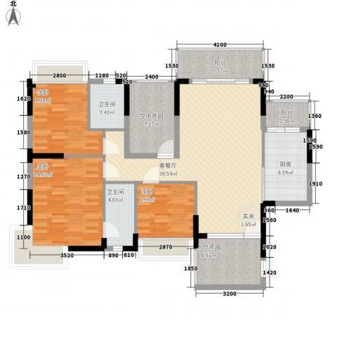 江南御都3室1厅2卫1厨109.98㎡户型图