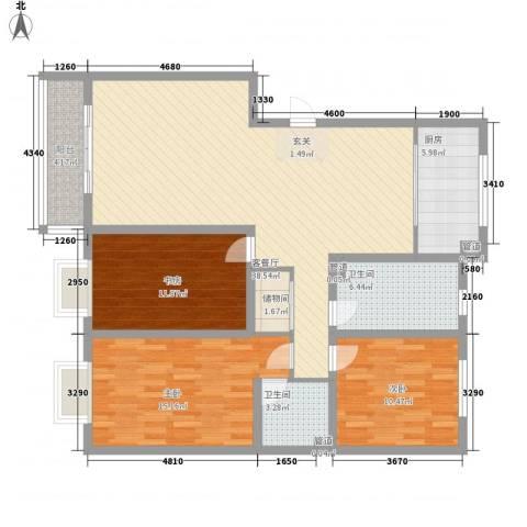 金河湾3室1厅2卫1厨139.00㎡户型图