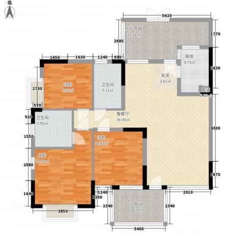万科城市高尔夫花园三期3室1厅2卫1厨148.00㎡户型图