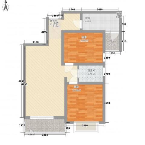 金色花语城2室1厅1卫1厨100.00㎡户型图