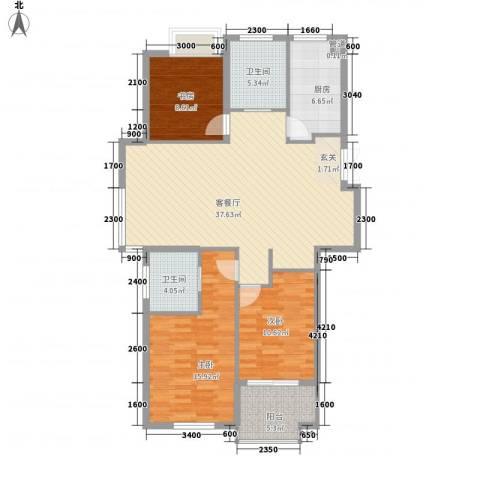 颐和名苑3室1厅2卫1厨125.00㎡户型图