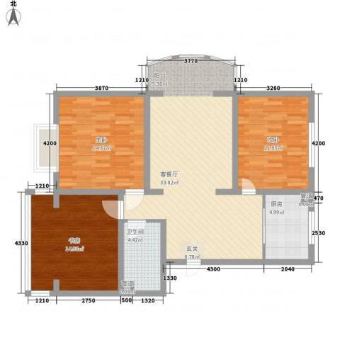 金河湾3室1厅1卫1厨121.00㎡户型图