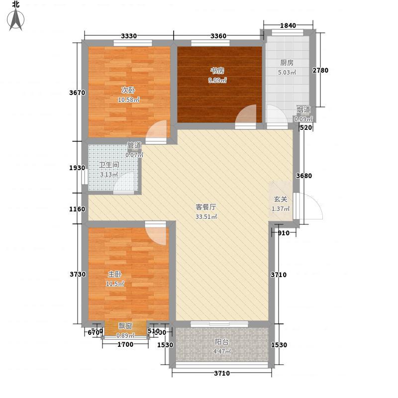 泓盛名居3室1厅1卫1厨77.48㎡户型图