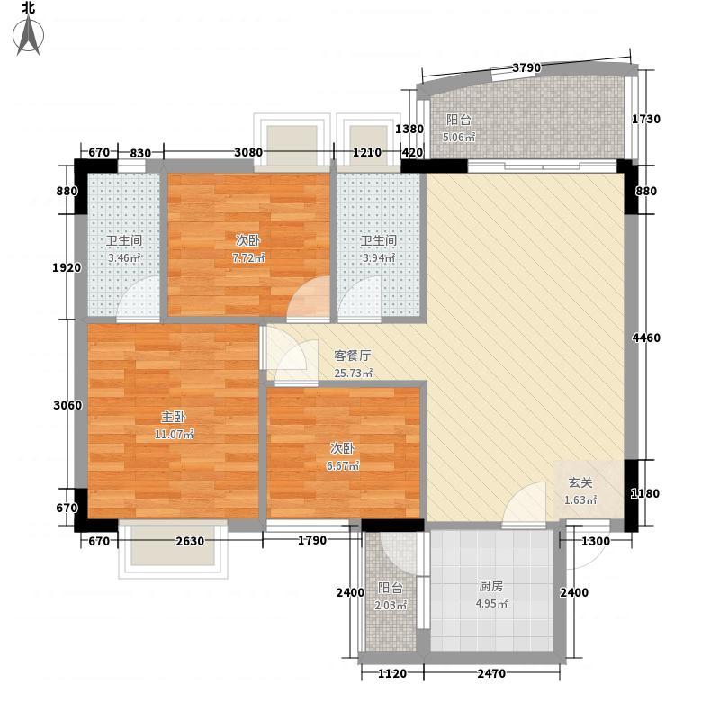 东田丽园二期100.00㎡东田丽园二期户型图3室2厅2卫1厨户型10室